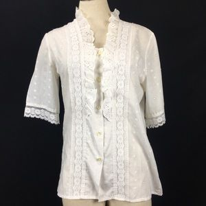 Vintage White Eyelet Blouse with Lace Trim
